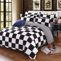 Black White Cotton Blend Bedding Set Duvet Cover Flat Sheet Pillowcase  Bed Linen  Twin Full Queen King Size