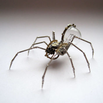 Spider Sculpture No 48 Recycled Watch Parts Clockwork Arachnid Figurine Stems Lightbulb Arthropod A Mechanical Mind Gershenson