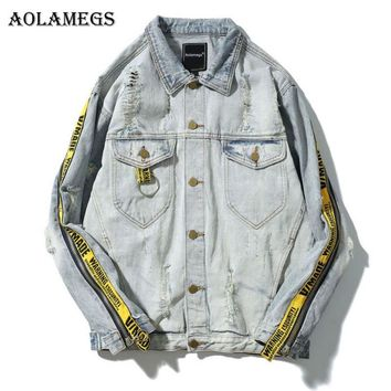 Trendy Aolamegs Denim Jacket Men Patchwork Gold Ribbon Cowboy Punk Rock Men's Jacket High Street Fashion Outwear Men Coat 2017 Autumn AT_94_13