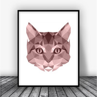 Cat, Rose Art Print Poster