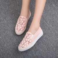 Breathable Lace Flower Flats Platform Loafers Shoes 9371