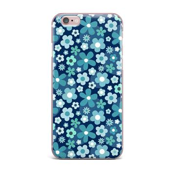 """Daisy Beatrice """"GROOVY BABY MINI PRINT"""" Blue White Floral Pattern Mixed Media Vector iPhone Case"""