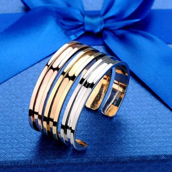 Silver Rose Gold Hair Tie Bracelets Alloy Open Bangle cuff Wristband