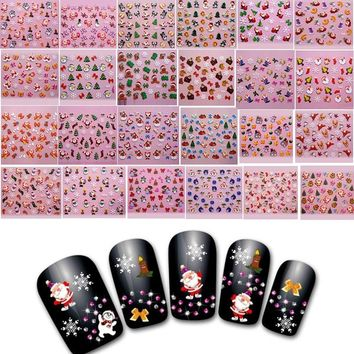 High Quanlity Fashion DIY Nail Art Stickers Decal Christmas Santa Claus Snowflakes Manicure Decoration Tools