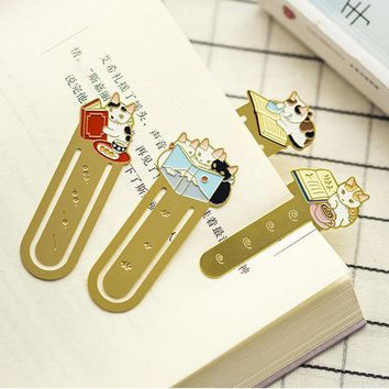 ICIK272 cute Cat Family metal bookmark planner paper clip material escolar bookmarks for book stationery school supplies papelaria