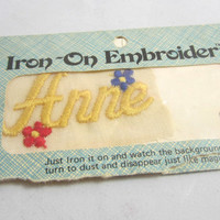 "Vintage Iron on Embroidery ""Anne"" Iron on Name , Iron on Patch , Iron on Label , Iron on Name , Embroidered Name Patch"