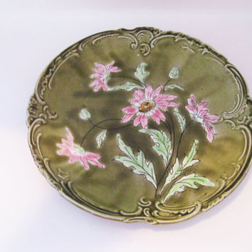 Imperial Bonn Astra Daisy Green Plate Pink Flowers German Pottery- FL