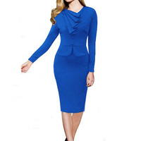 Long Sleeve Pleated V-Neck Pencil Bodycon Midi Dress