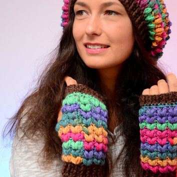 Hippie crochet hat. Multicolored brown merino wool slouch hat and beanie, merino wool blend hat, winter wool hat and mittens, Fuchsia hat