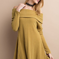 fold over shoulder ribbed dress