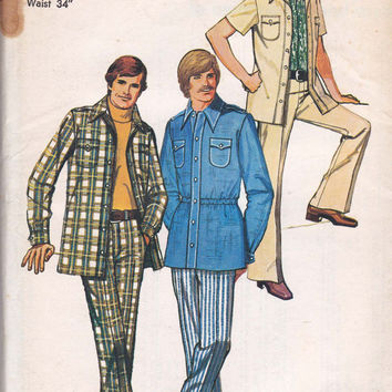 Mens Shirt Jacket Pants 1970s Vintage Sewing Pattern Simplicity 5710 Size Chest 40 UNCUT FF
