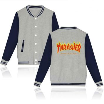 Thrasher flame special large size tide coat plus cashmere couple baseball clothing Red letters-3