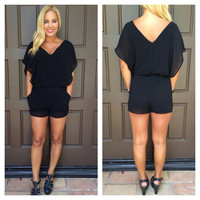 Effortless Black Chiffon Romper