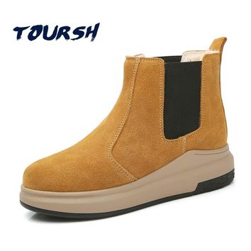 TTOURSH Chelsea Boots Women Leather Suede Boots  Brown Plush Warm Motocycle Flat Heel Waterproof Snow Boots Low Tube Warm Fur
