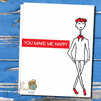"""Romantic card, """"you make me happy""""   Cute, sweet card, anniversary card, thinking of you card"""