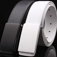 WOWTIGER edition White black luxury designers smooth Male leather buckle belt for men leather Belts