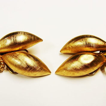 Vintage Napier Brushed Gold Tone Clip On Earrings | Textured Puka Shell Earrings