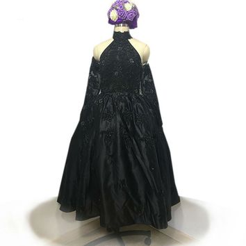 Arrival high neck black Evening Dress ball gown Prom Dresses tea length heavy beading Evening Dress with pearls