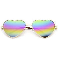 Women's Super Cute Flash Revo Lens Metal Heart Sunglasses 9482