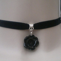 Resin BLACK ROSE Charm BLACK 10mm Velvet Ribbon Choker Necklace - tj... or choose another colour, wide choice :)
