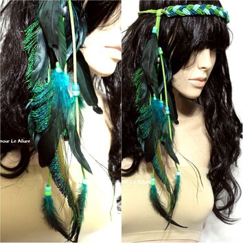 Green Indian Headdress Feather Native Crown Feather Headband Halloween Costume