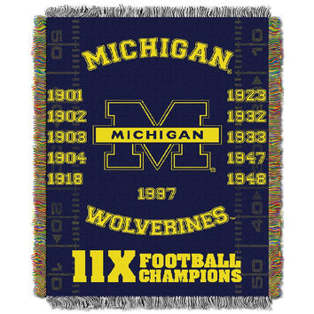 Michigan Wolverines NCAA National Championship Commemorative Woven Tapestry Throw (48x60)