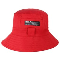 Dahlia Summer Sun Hat - Reversible Bucket Hat - Red and Tan