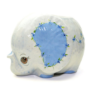 Baby Blue Elephant Planter - Boy Nursery Accent, Hand Painted Glazed Ceramic - Large Size, Tiny Flower Decoration - Vintage Home Decor