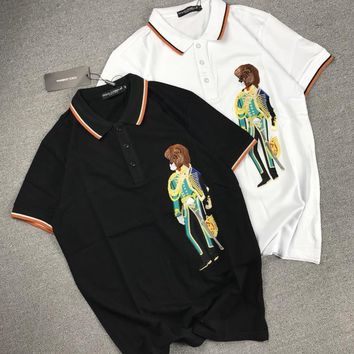 Dolce & Gabbana Unisex Lion Military Officer Embroidery Lapel T-shirt Couple Short Sleeve Casual Polo Shirt Top Tee