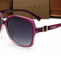 GUCCI Trending Women Casual Sun Shades Eyeglasses Glasses Sunglasses Rose red G
