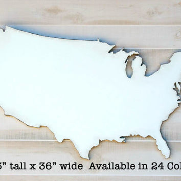 "United States US state shape silhouette wood cutout sign wall art. Oversized 23"" x 36"". 24 Colors. Wedding Country Chic Housewarming Decor"