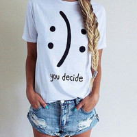 You Decide Smiley Face or Sad Face Women's Short Sleeve White and Black Casual T-Shirt