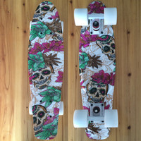 "CHI YUAN Mini Cruiser Board Plastic Skateboard Floral Graphic Printed 22"" X 6"" Retro Longboard Skate Long Board"