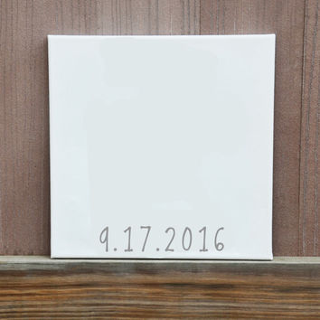 Set of Four 12x12 Canvas Wedding Details Guestbook, Ready to Hang, Customized Colors and Details, Wedding, Wedding Idea