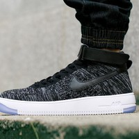 Originals Nike Air Force One 1 Flyknit Mid Black / White Running Sport Casual Shoes '07 817420-101 Sneakers