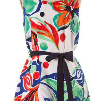 Tropical Flowers Dress - Green and Blue