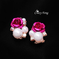 Promotion Top Fashion Jewlery Crystal Stud Earrings Gold Plated Simulated Pearl Rose Flower Earring For Woman Free Shipping