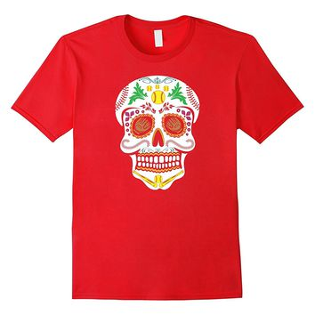 Funny Softball Sugar Skull Cool Halloween T Shirt
