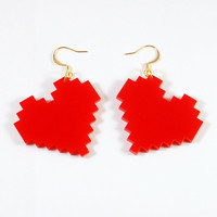 Bright Red Pixelated Heart Earrings - Geek Chic