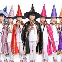 2018 New Kids Carnival Clothing Children Magician Cosplay Costume Halloween Cape Witch Party Role Play Cloak Hat Age 3-12 Year