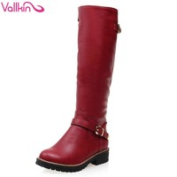 Knee-High Round Toe Single Buckle Strap Flat Heels Women's Winter Boots