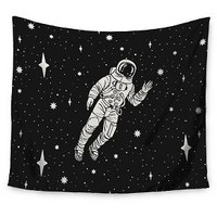 "Black Fantasy Kess Original Space Adventurer Wall Tapestry (51""x60"") - Kess InHouse"