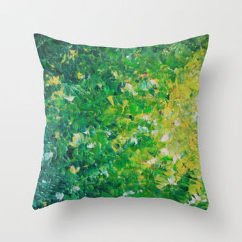 LAKE GRASS - Original Acrylic Abstract Painting Lake Seaweed Hunter Forest Kelly Green Water Lovely Throw Pillow by EbiEmporium | Society6