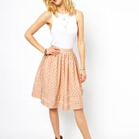 ASOS Midi Skirt in Cutwork with Ribbon Trim