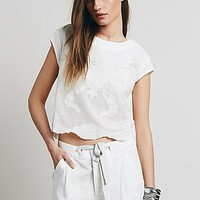 Free People Womens Short Sleeve Cutwork Tee