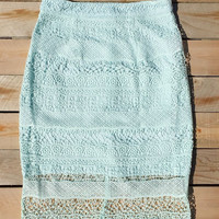 Crochet Mint Pencil Skirt
