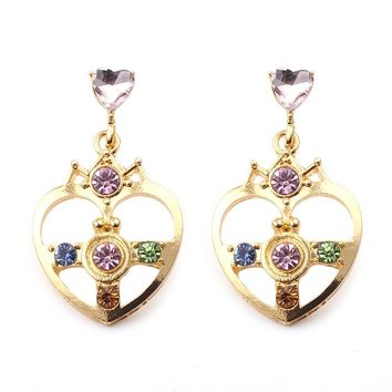 Beauty Gold Color with Blue Green Crystal Heart Shape Sailor Moon Earrings Sailor Moon Earrings For Cosplay Kids Girls