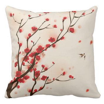 Oriental Style Painting Plum Blossom in Spring Throw Pillow