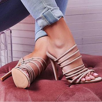 Hot Selling Women's Sandals Open-toed Strip Hollow Super High-heeled Single Shoes