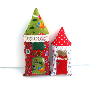 SALE! Two handmade stuffed houses,Kids Decor,Stuffed Toy,Fairy Cottage,Boys,Girls,Children,patchwork